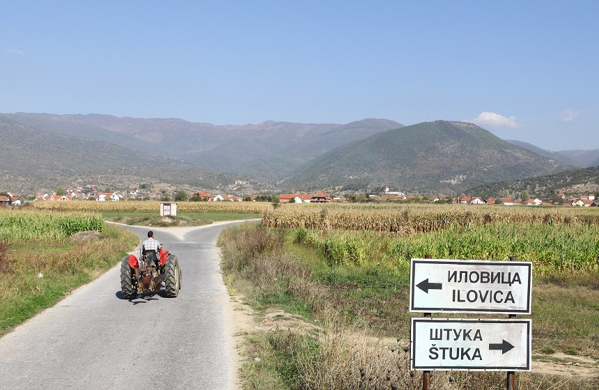The ilovtiza mine is planned for the back of the large bald mountain behind the villages of Ilovtiza and Stuka in Macedonia